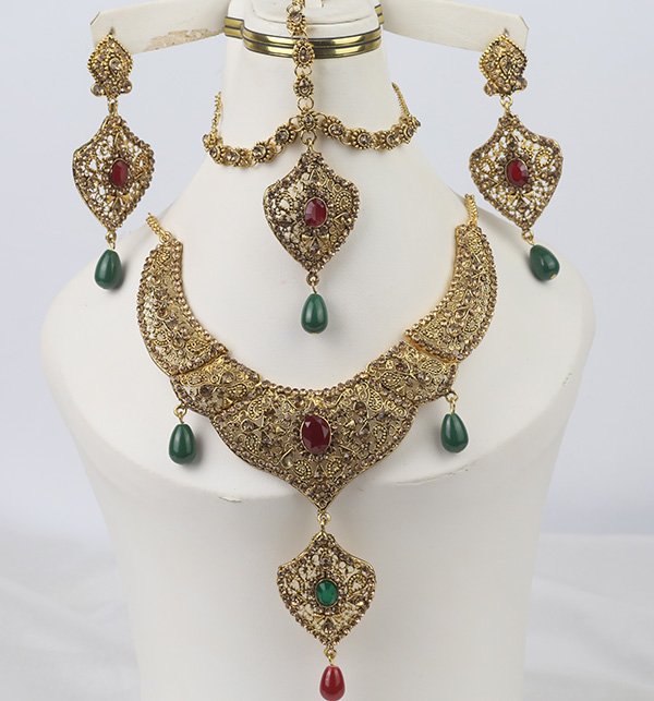 Bridal Multi Store Jewelry Set Necklace Earring Matha Patti (PS-352)