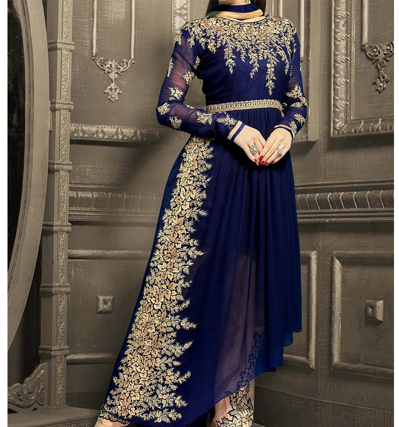 Royal blue maxi dress pakistani