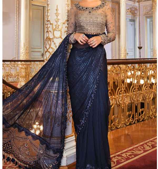 Chiffon Designer Heavy Embroidered Saree - Wedding Collection 2021 (CHI-418)