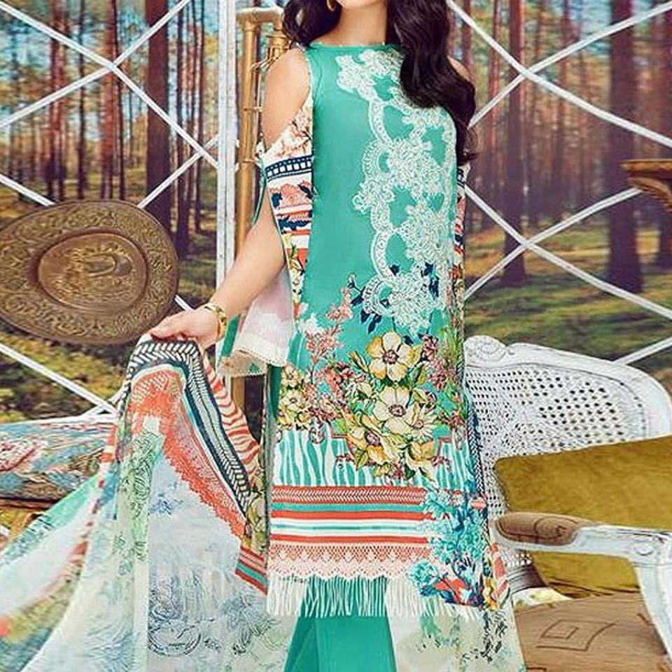 Pakistani Embroidered Lawn Suit 2020 with Chiffon Dupatta (DRL-415) (Unstitched)