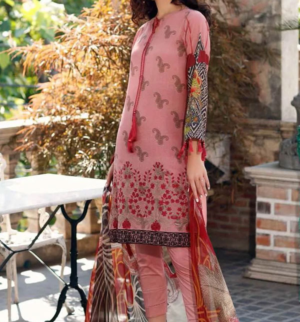Lawn Heavy Embroidery Suit with Chiffon Duppata Heavy Daman Banch (DRL-545)