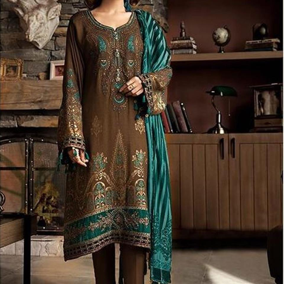 Linen Embroidered Suit with Wool Shawl (LN-121) (UnStitched)