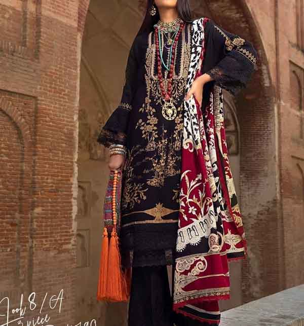 Pakistani Neck Embroidered Lawn Suit With Chiffon Duppata  (DRL-663)