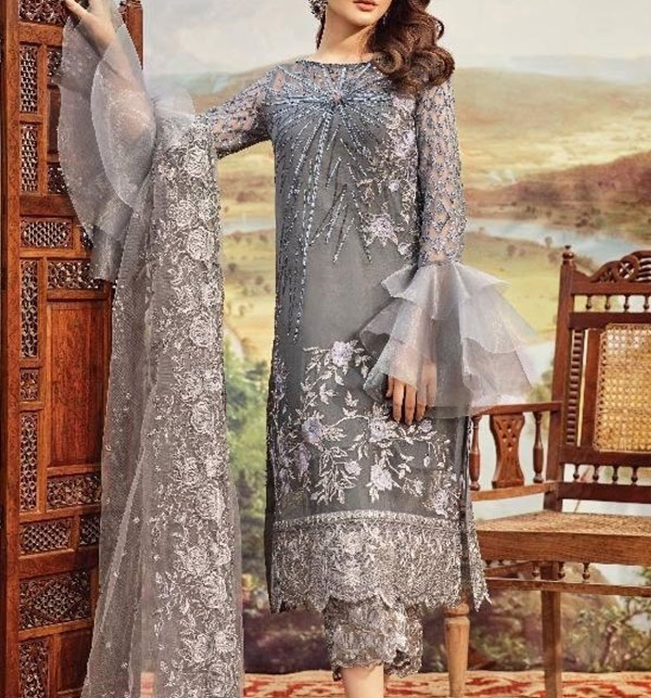 Latest NET Heavy Embroidered Suit 2020 (UnStitched) (CHI-352)