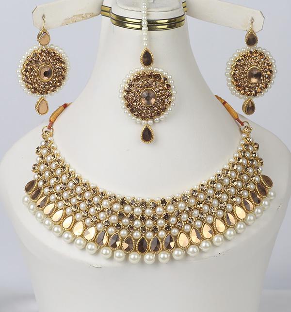 Beautiful Pearl Jewelry Set Shisha Work For Women (PS-349)