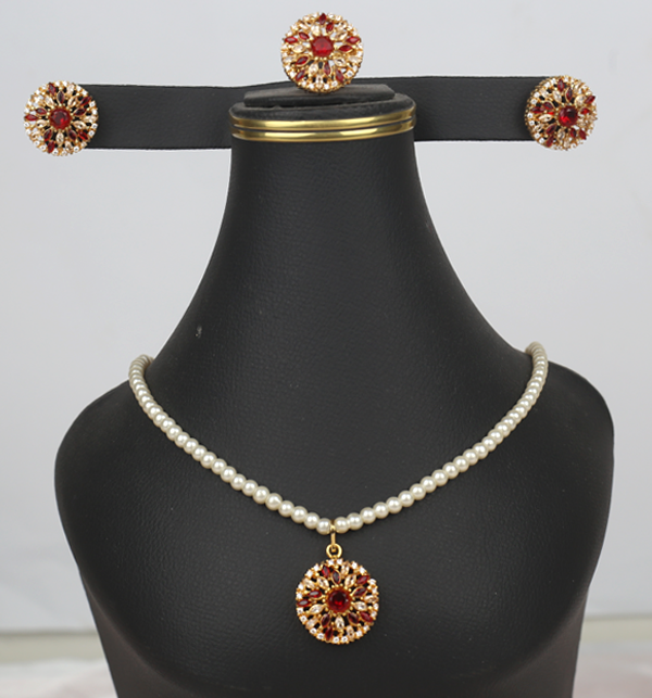 Pearls Jewellery Stone Set With Earing & Ring (PS-402)