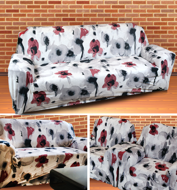 Printed Flower Jersey Sofa Covers Protector Slipcover - (5 Seater) (3+1+1)