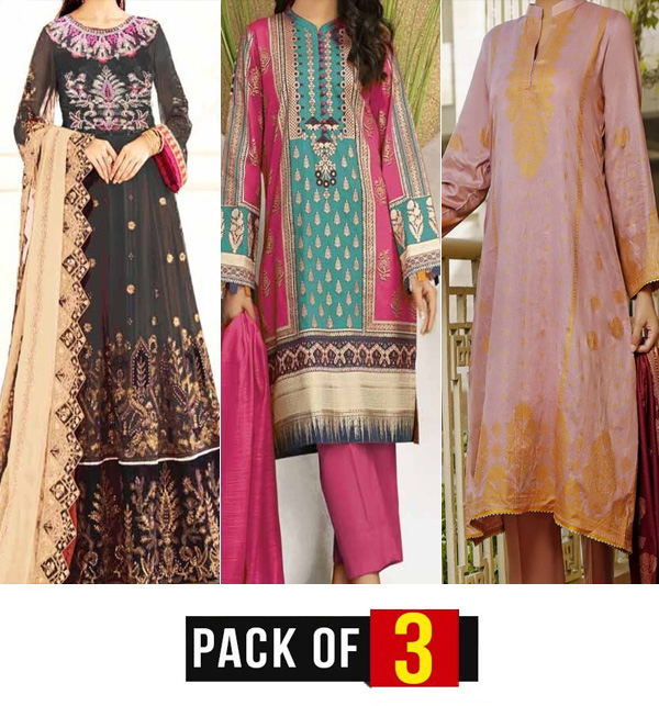 Ramzan Sale Pack OF 3 Lawn Suit Unsitched (DRL-806) , (DRL-780) & (20-120B)