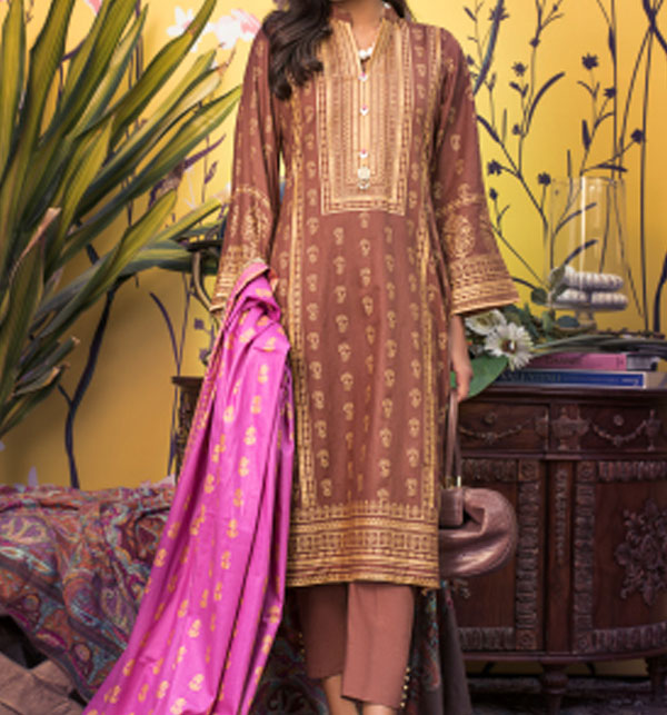 Banarsi Lawn Block Printed Collection 3 Pec Suit BY Z.S Textile (RBP-06) (Unstitched)