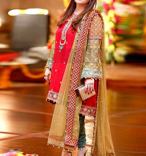 Red Embroidered Chiffon Dress 2019 with Jamawar Trouser (CHI-284) (Unstitched)