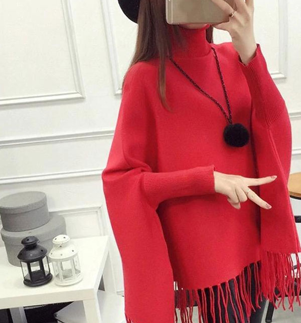 Red Winter Fleece Poncho For Women (FPW-03)