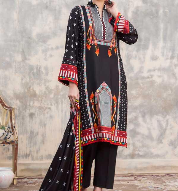 Sahil Black Printed Linen 3 Piece Unstitched Suit (SLN-05)