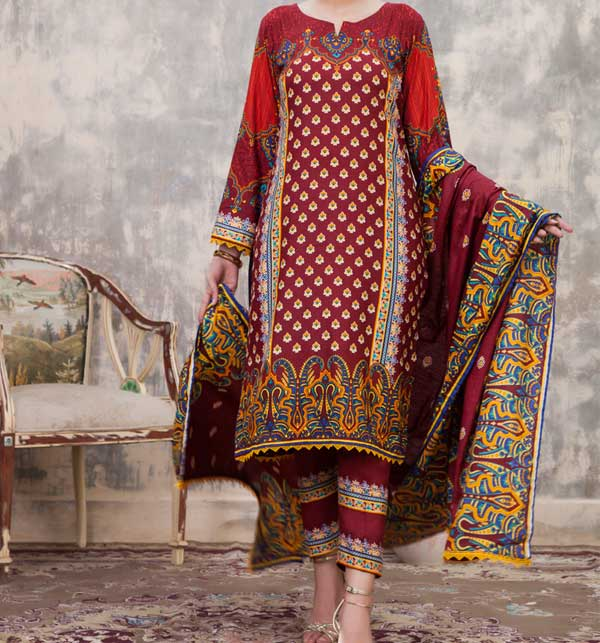 Sahil Printed Linen 3 Piece Unstitched Suit (SLN-10)