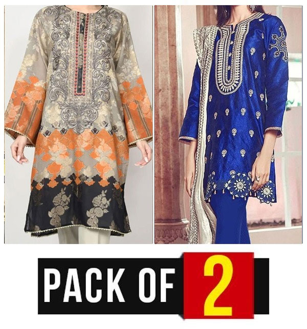Sale Pack OF 2 - Latest Embroidered Lawn Dress 2020 with Chiffon Dupatta  (DRL-449) & (DRL-421)