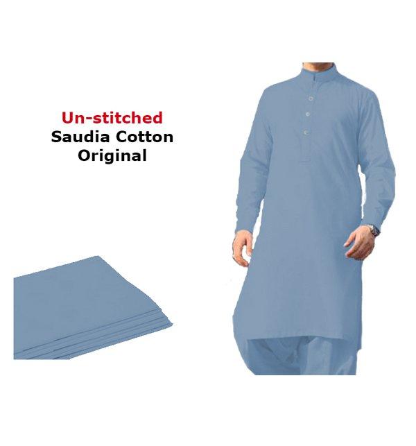 Saudia Cotton (Orignal) Sky Blue Men's Kameez Shalwar Unstitched (MSK-17)