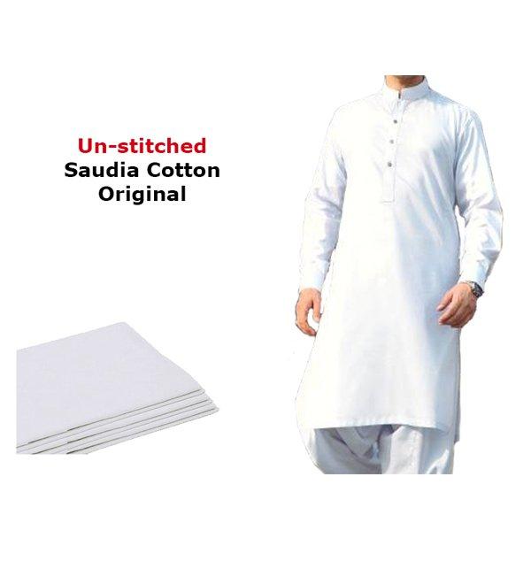 Exclusive Cotton Latha Orignal (White Cotton) Unstitched Suit For Men Unstitched (MSK-18)