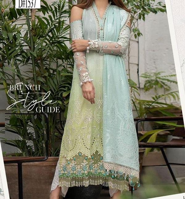 Schiffli Embroidered Lawn Dress with Chiffon Dupatta (Unstitched) (DRL-606)