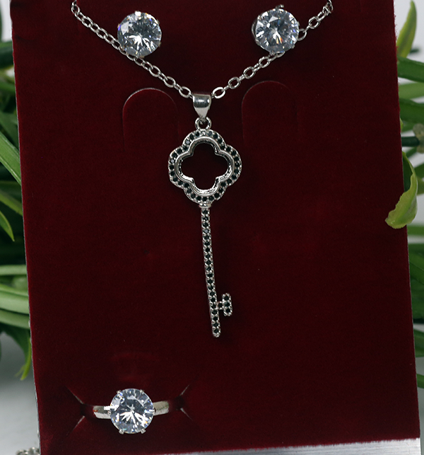 Silver Key Necklace Set Earrings and Ring (PS-170)