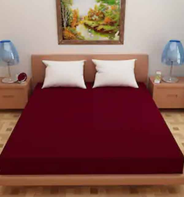 Single Bed Stretch Jersey Fitted Cover - Maroon