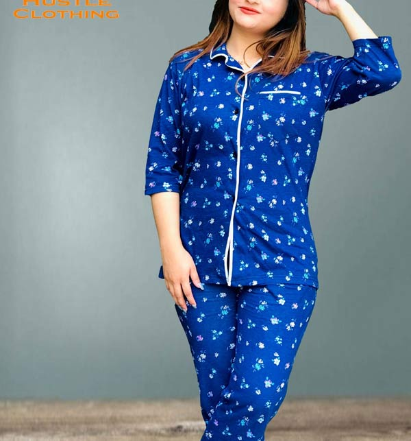 Sleep Dress Night Wear with Shirt and Trouser (Complete Sleeping Suit) For Women and Girls (ND-1)
