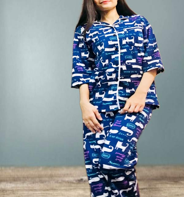 Sleep Dress Night Wear with Shirt and Trouser (Complete Sleeping Suit) For Women and Girls (ND-2)