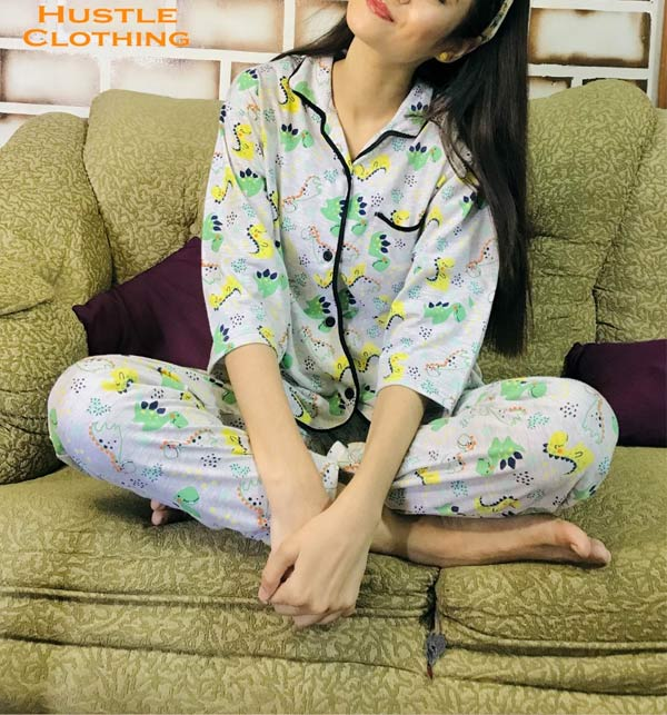 Sleep Dress Night Wear with Shirt and Trouser (Complete Sleeping Suit) For Women and Girls (ND-4)