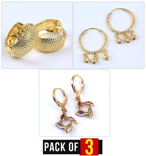 Special Deal Pack OF 3 Earrings For girls - Artificial Design (Earrings Deal-01)