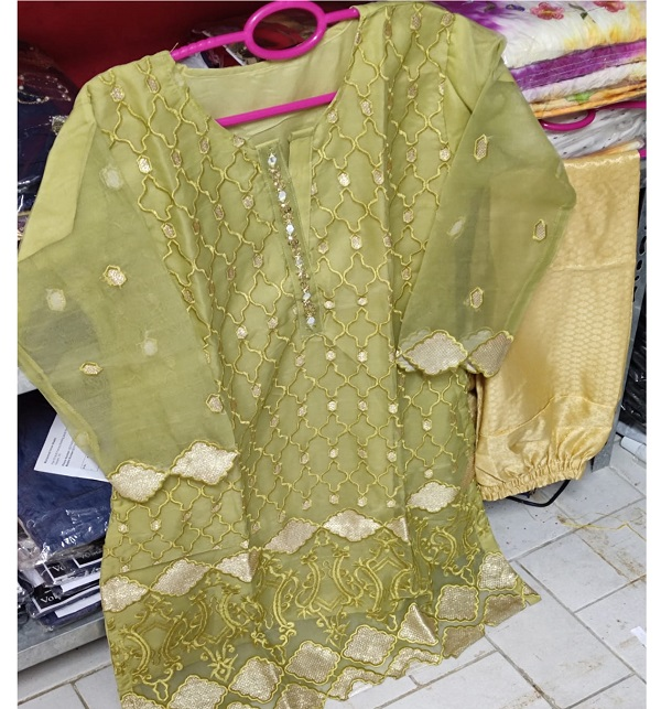 Stitched 2 Pieces Organza Sequence Embroiderey Suit With Jamawar Trouser  (DRL-793)