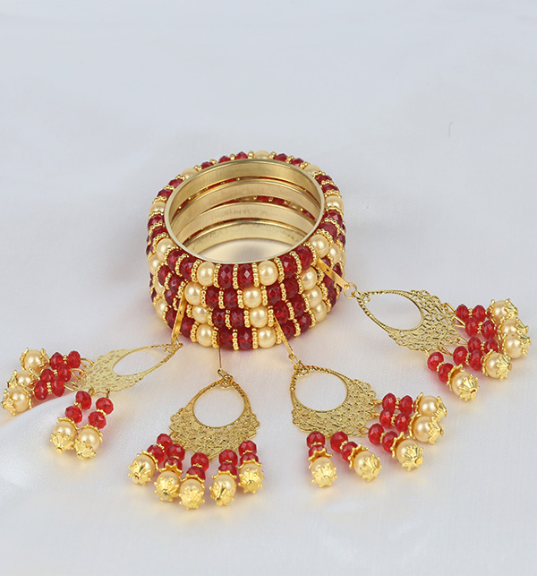 Maroon Pearls 4 Bangles With Tassels For Girls (BH-53)