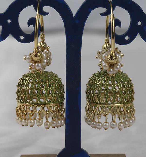 Stylish Green & Golden Round Shape Earrings For Girls (JL-44)