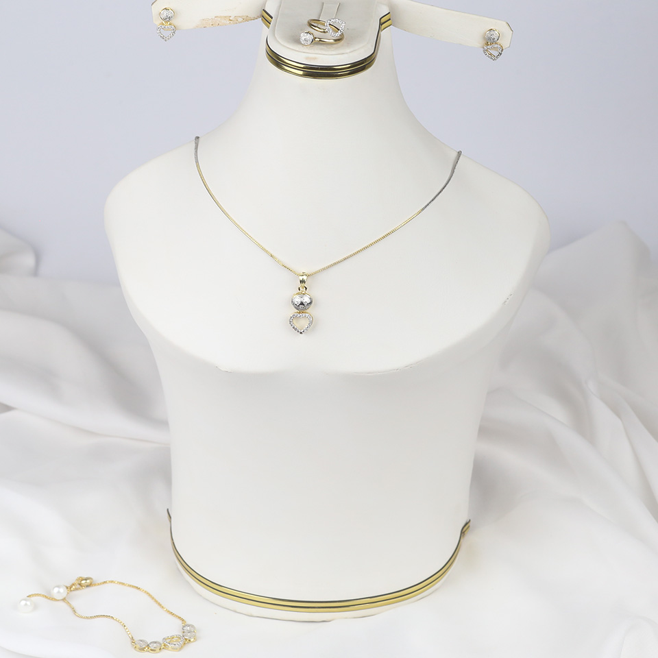 Zircon Stylish Heart Necklaces Jewelry Set For Girls (PS-318)