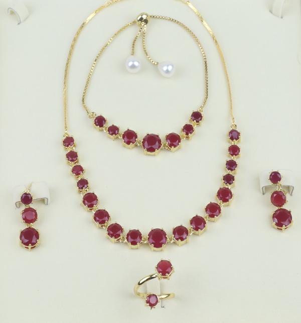 Stylish Zircon Stone Necklace Set Bracelet Earing and Ring  (PS-392)