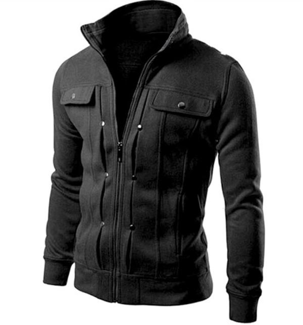 Stylish Men's Fleece Jacket Black