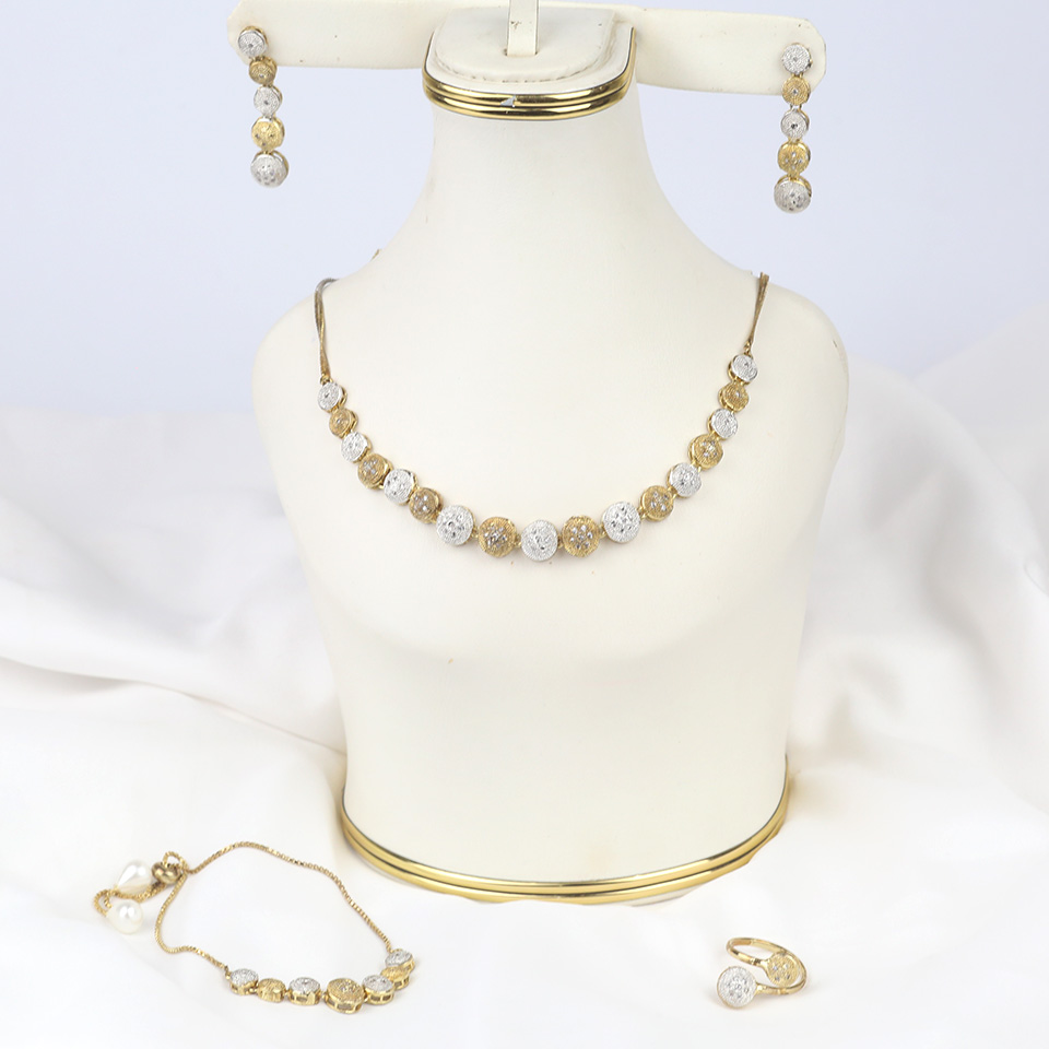 Stylish AD Zircon Necklace Set with Earrings & Matha Patti (PS-313)