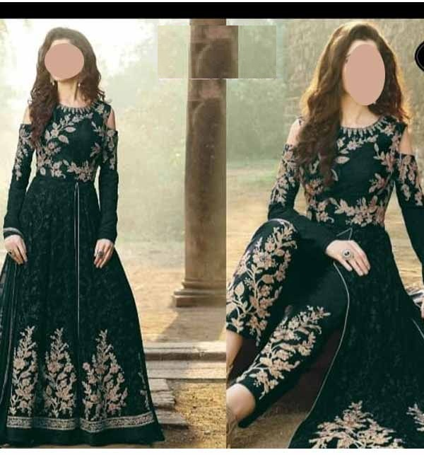 Stylish New Chiffon Embroidered Maxi Dress 4-Side Embroidered Dupatta (CHI-473)