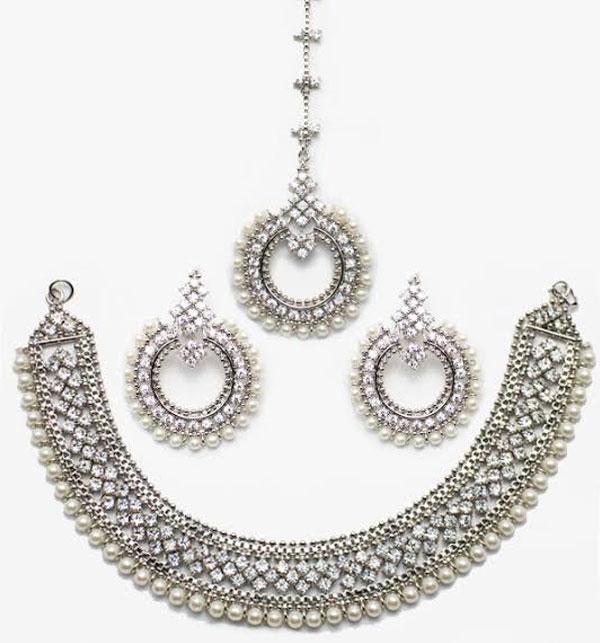 Stylish Silver & Diamond Look Necklace Set (PS-53)