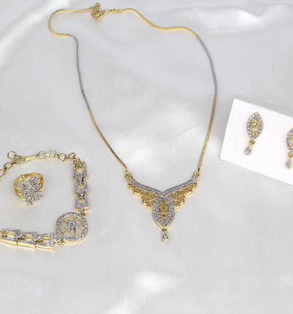 Zircon Combo Deal Necklace Set Bracelet Earring & Ring  (PS-377)