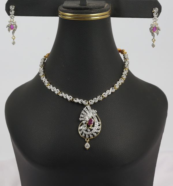 Beautiful Zircone Necklace Set With Earrings (PS-221)