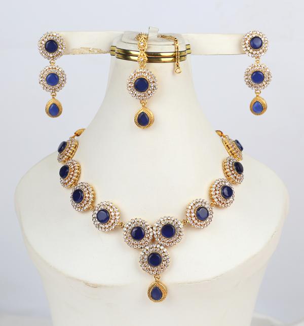 Stylish Zircon Necklace Set With Matta Patti (PS-404)