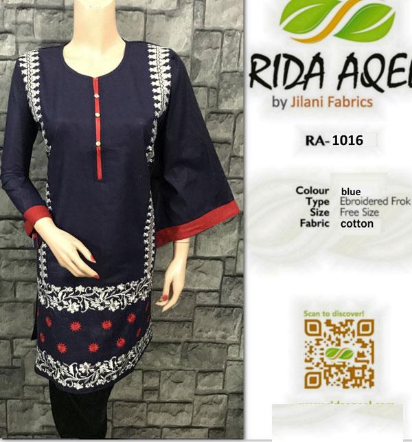 Cotton Stitched Embroidered Kurti 2021 (RA-1031)