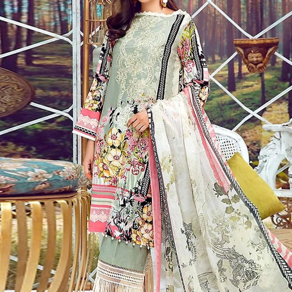 Summer Embroidered Lawn Collection 2020 with Chiffon Dupatta (DRL-416) (Unstitched)