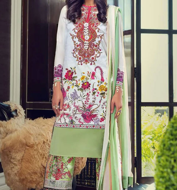 Summer Embroidered Lawn Suit 2020 With Chiffon  Duppata Unstitched (DRL-493)