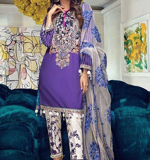 Summer Lawn Emboidery Suit With Chiffon Printed Duppata (DRL-481) (Unstitched)
