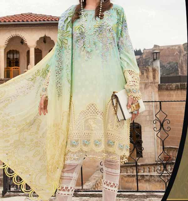 Summer Luxery Lawn Full Heavy Embroidery With Chiffon Printed Dupatta (DRL-815)