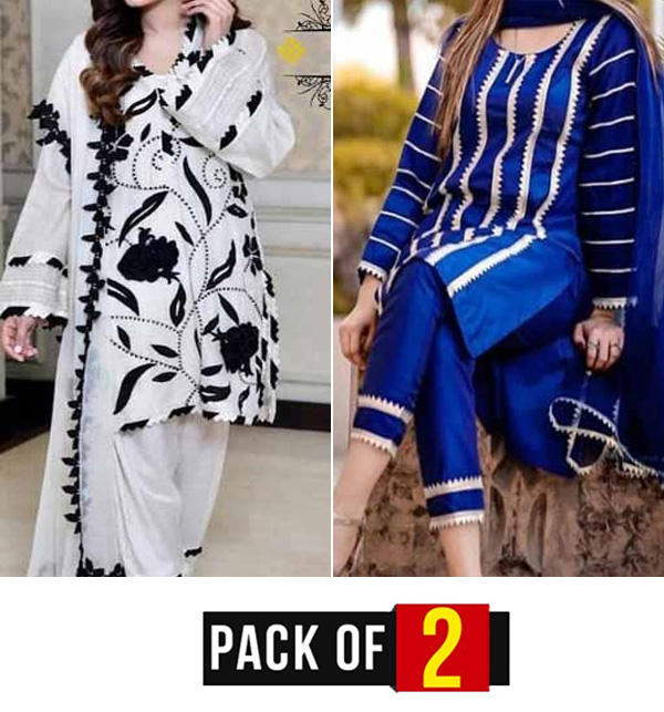 Pack OF 2 Hit Lawn Full Heavy Embroidery Design 2 Pieces Suit Unsicthed (DRL-746) & (DRL-808)