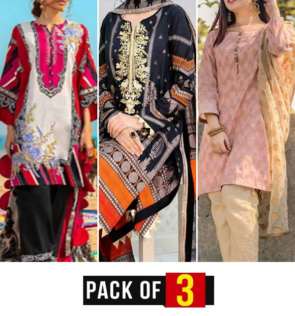 Pack OF 3 Hit Embroidery Lawn 3 Pec Dress With Chiffon Dupatta (unsitched)