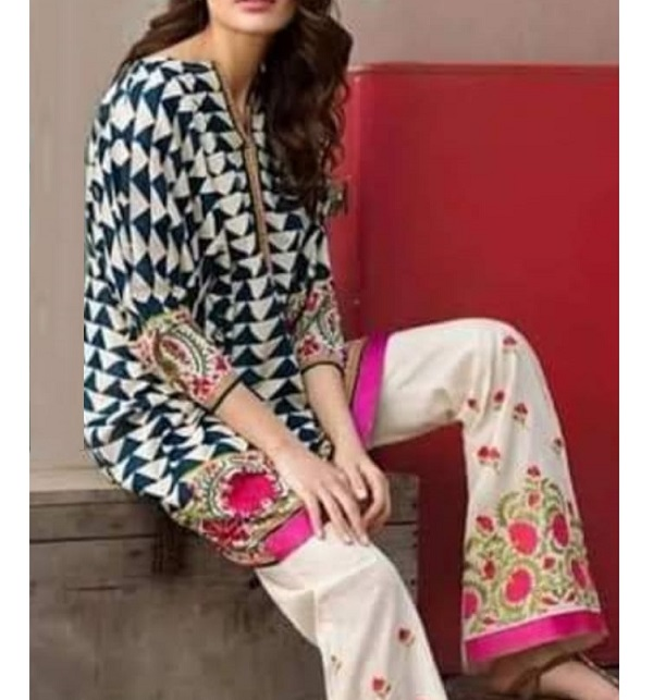 Trendy 2-Pcs Embroidered Lawn Dress 2020  (DRL-611)