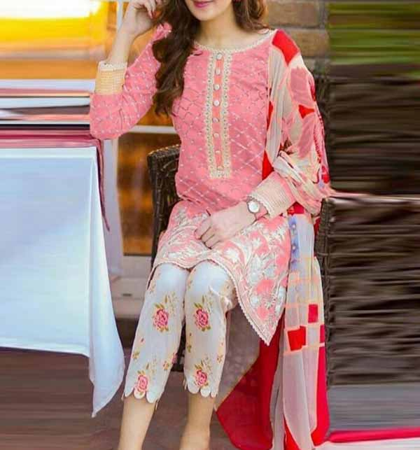 Trendy 2-Piece Heavy Embroidered Lawn Dress With Embroidered Trouser UnStitched (DRL-570)
