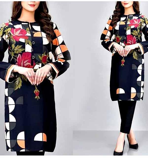 Trendy Linen Embroidered Dress 2021 with Linen Dupatta (LN-225)