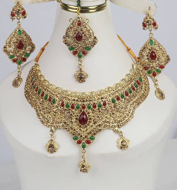 Luxury Multi-color Bridal Jewelry Sets Earing With Matha Pati (PS-371)